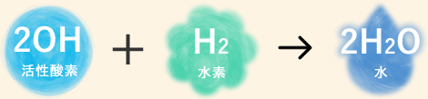 2OH活性酸素+H2水素+2H2O水